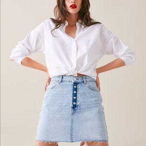 Zara Mini Denim Skirt Buffon Fly